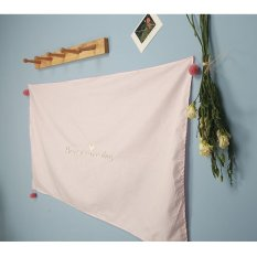 Pink Embroidery Have A Nice Day Cotton Hanging Cloth with Tassels Ball Room Wall Decoration Dustproof Table Covers 120X70CM - intl
