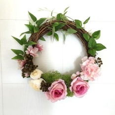 Pink Holiday Festival Wedding Decor Floral Artificial Rattan Wreath Door Hanging Wall Window Decoration Wreath - intl