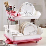 Coupon Plastic Multi Functional Kitchen Fruit Storage Rack Water Draining Dish Rack