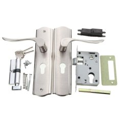 Polished Dual Latch Door Curved Handle Front Back Lever Lock Cylinder with Keys - intl