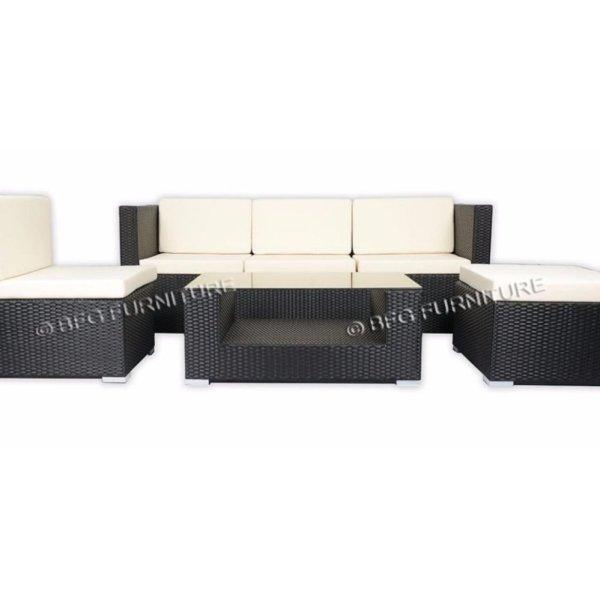 Ponceau Sofa Set - White Cushions(Black)