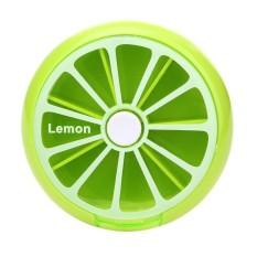 Portable 7 Day Rotating Pill Case Medicine Box (Lemon)(Black) - intl