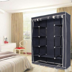 Portable Closet Storage Organizers Wardrobe Clothes Rack Hanger Closet Organizer With Shelves Blue - intl