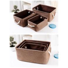 Portable Cotton&Linen Storage Basket Home Desktop Newspaper Book Sundries Storage Bin Box(Size:M) - intl