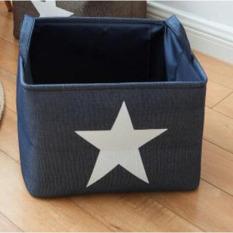 Price Portable Korean Style Printed Stars Storage Basket Cotton Linen Kids Storage Box Household Sundries Organizer Pouch Blue 37X31X25Cm Oem