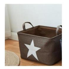 Who Sells Portable Korean Style Printed Stars Storage Basket Cotton Linen Kids Storage Box Household Sundries Organizer Pouch Coffee 37X31X25Cm The Cheapest