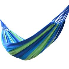 Portable Outdoor Hammock Hang Bed Travel Camping Swing Canvas Blue Stripe