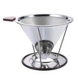 Promo Pour Over Coffee Filter Stainless Steel Cone Coffee Dripper Reusable Double Mesh Pour Over Coffee Maker With Separate Stand