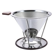 For Sale Pour Over Coffee Filter Stainless Steel Cone Coffee Dripper Reusable Double Mesh Pour Over Coffee Maker With Separate Stand