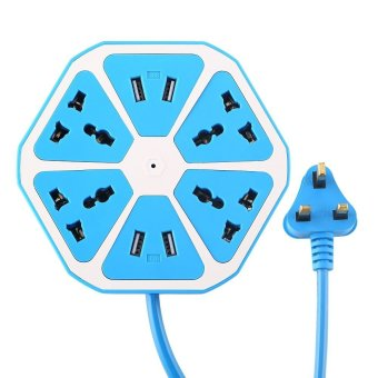 Power Strips with USB ports Surge Protector Power Socket Have 4 Outlets 4 USB UK Plug (Blue)