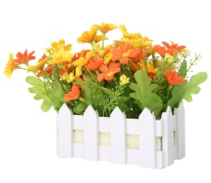 powercreat Artificial Flowers Small Potted Plant Fake Chrysanthemum Set in Picket Fence,Mixed Colors - intl
