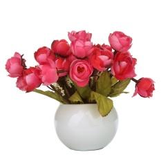 powercreat Simulation Silk Flowers Camellia Sasanqua Artificial Flowers Set with Round Vase,wine Red - intl