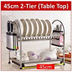 Latest Premium Stainless Steel 2 Tier Dish Rack With Drying Drainer Tray Holder Kitchen Shelf Storage Cup Silver