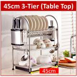 Cheaper Premium Stainless Steel 3 Tier Dish Rack With Drying Drainer Tray Holder Kitchen Shelf Storage Cup Silver