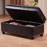 List Price Pu Leather Cushion Ottoman Storage Stool Seat Box Bench Premium Large Black Premium