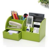 Pu Leather Desk Organizer Pen Pencil Business Cards Remote Control Phone Cosmetics Holder Storage Box Home Office Supplies Intl Deal