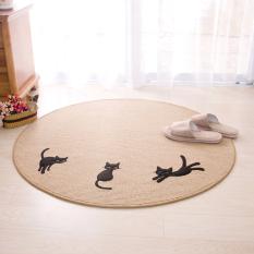 Pumi 58 Three Black Cat Circle Carpet Mats Computer throw pillow Table Mats Doormat Can Washing Mat Water Absorption