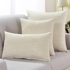 Pure Color Squre Pillow Home Sofa Linen Hlod Pillow With Core Cushions Cover Intl Promo Code