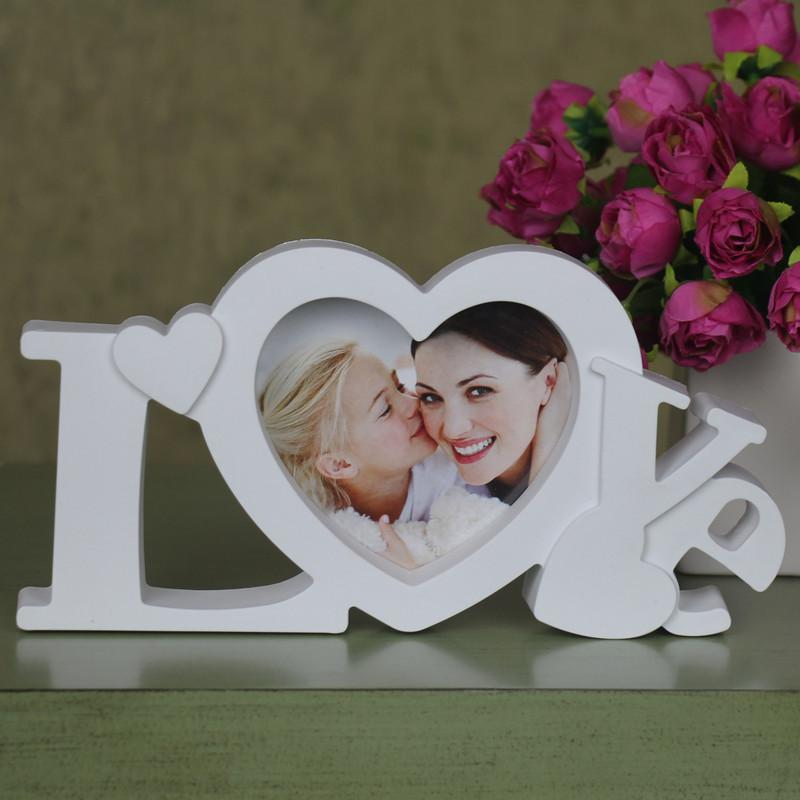 Pure Love Photo Frame White Heart Shape With One Picture 4x4 For New Baby And Sweet Lover Gift - intl