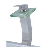 Qh0815H Brass High Body Glass Spout Bathroom Basin Faucet Chromed Silver Oem Discount