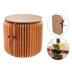 qoovan Flexible Paper Stool,Portable Home Furniture Paper Design Folding Chair with 1pcs Leather Pad,Brown Small Size - intl