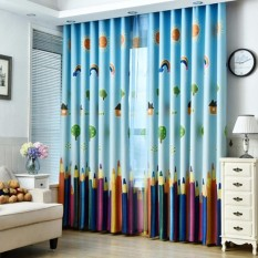Rainbow Pencil Pattern Sheer Tulle Window Curtain(Multicolor)-cloth - intl