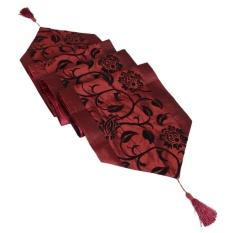 Raised Flower Blossom Flocked Damask Table Runner Cloth Dark Red   Intl
