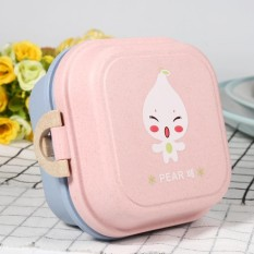 Rbstore Wheat Straw Fiber Kids Lunch Box Double Layer Pink Lid Intl China