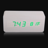 Price Comparison For Rectangle Wooden Digital White Alarm Clock Calendar With Green Light