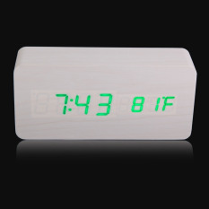 Low Price Rectangle Wooden Digital White Alarm Clock Calendar With Green Light