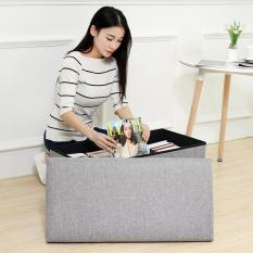 Rectangular linen covered storage stool storage box - gray (40 * 25 * 25CM)
