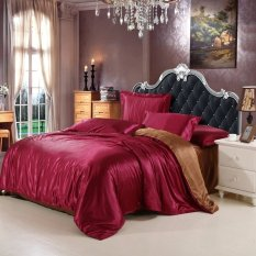 Price Red With Brown Color Home Textile Solid Silk Satin 3 4Pcs Queen King Size Luxury Bedding Sets Bedclothes Bed Linen Duvet Cover Set Bed Sheet Oem Online