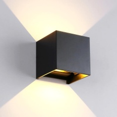 Redcolourful 12W Indoor and Outdoor Aluminum Waterproof LED Adjustable Light Square Wall Lamp Black Warm White Light - intl
