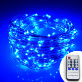 Wholesale Remote Control 66Ft 20M 200 Leds Warm White Led String Starry Lights Christmas Fairy Lights Silver Wire Power Adapter Blue