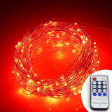 For Sale Remote Control 66Ft 20M 200 Leds Warm White Led String Starry Lights Christmas Fairy Lights Silver Wire Power Adapter Red