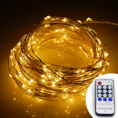 Remote Control 66Ft 20M 200 Leds Warm White Led String Starry Lights Christmas Fairy Lights Silver Wire Power Adapter Warm White Coupon Code