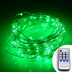 Buy Remote Control 66Ft 20M 200 Leds Warm White Led String Starry Lights Christmas Fairy Lights Silver Wire Power Adapter Green