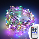 Discount Remote Control 66Ft 20M 200 Leds Warm White Led String Starry Lights Christmas Fairy Lights Silver Wire Power Adapter Multicolor Er Chen