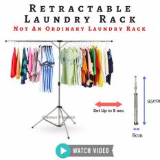 Retractable Laundry Rack Space Saving Easy Storage Clothes Rack Stainless Steel Rack For Outdoor And Indoor Use By Gracious Treasures.