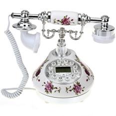 Retro Antique Style Resin Desk Telephone Phone Print Silver+White Home Decor (EXPORT)