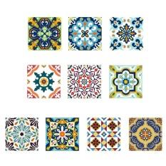 Retro Flowers Waterproof Tiles Stickers Bathroom Kitchen Wall Stickers (Multicolor) - intl