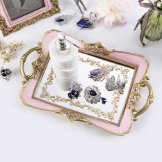Export Europe And America Vintage Gold Palace Style Luxury Sense Varved Hand-Painted Mirror Tray Tea Tray Decoration Wedding Decoration