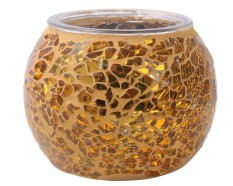 robxug Mosaic Glass Tea Light Votive Candle Holders Candleholder Stand (Golden) - intl