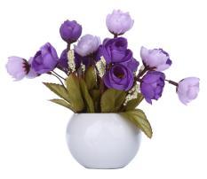 robxug Simulation Silk Flowers Camellia Sasanqua Artificial Flowers Set with Round Vase,purple