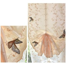 Roman shade European embroidery style tie up window curtain kitchen curtain voile sheer tab top window curtains - intl