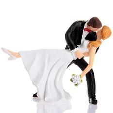 Romantic Dip Dancing Bride and Groom Couple Figurine Cakes Resin Decoration - intl