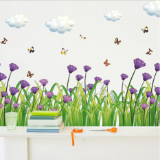 Romantic Purple Butterflies Flower Baseboard Wall Sticker Paper Home Decal Removable Living Dinning Room Bedroom Kitchen Art Picture Murals Girls Boys kids Nursery Baby Decoration - intl