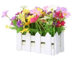 rooroom Artificial Flowers Small Potted Plant Fake Chrysanthemum Set In Picket Fence,Mixed Colors