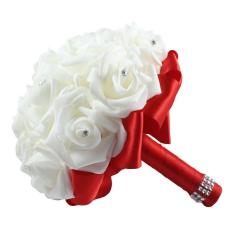 roortour 1 Bouquet 16pcs Bridal Wedding Roses Artificial Flowers with Rhinestone (Red)