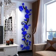 Rose Flower Acrylic 3D Wall Sticker Wall Decoration Dark blue 45cm x 150cm - intl